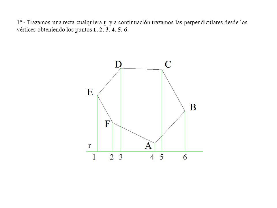 1º.- Trazamos una recta cualquiera r y a continuación trazamos las perpendiculares desde los vértices obteniendo los puntos 1, 2, 3, 4, 5, 6.