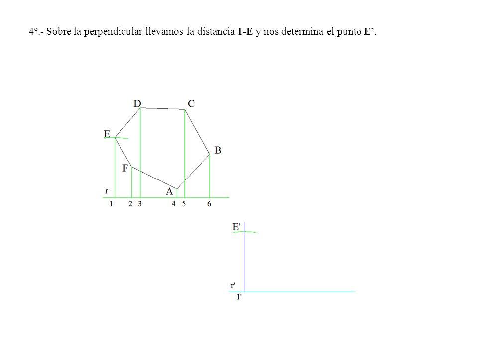 4º.- Sobre la perpendicular llevamos la distancia 1-E y nos determina el punto E'.