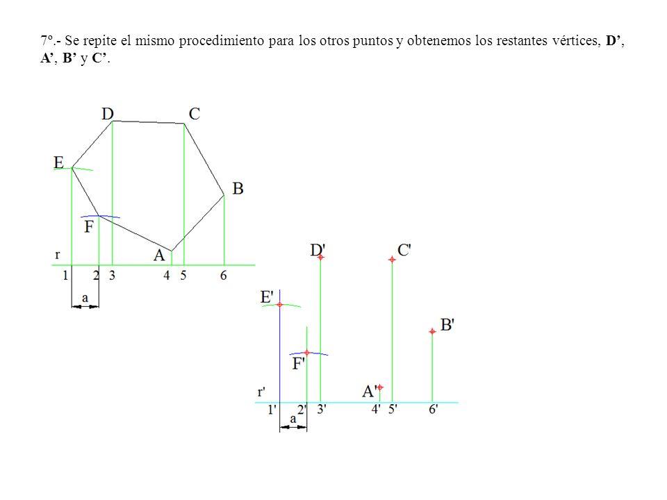 7º.- Se repite el mismo procedimiento para los otros puntos y obtenemos los restantes vértices, D', A', B' y C'.