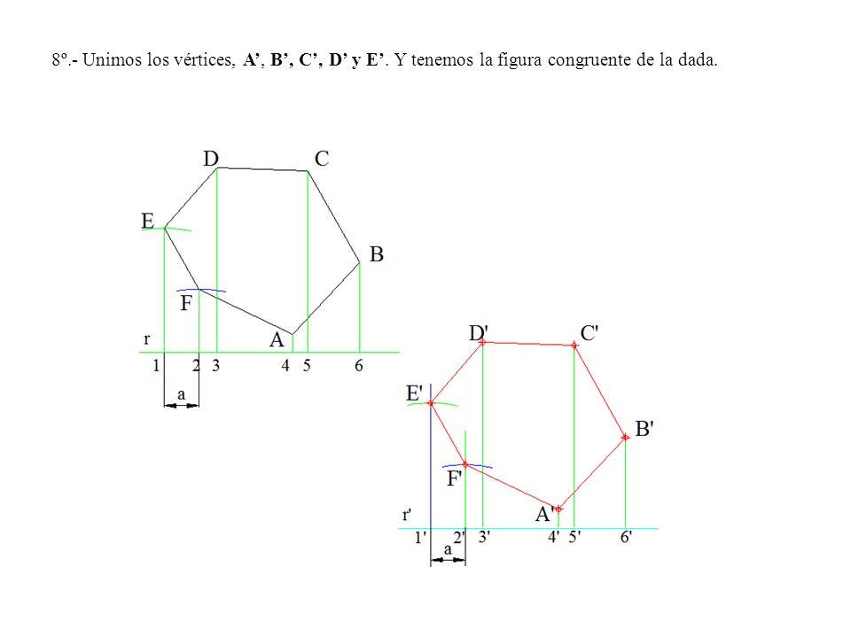 8º. - Unimos los vértices, A', B', C', D' y E'