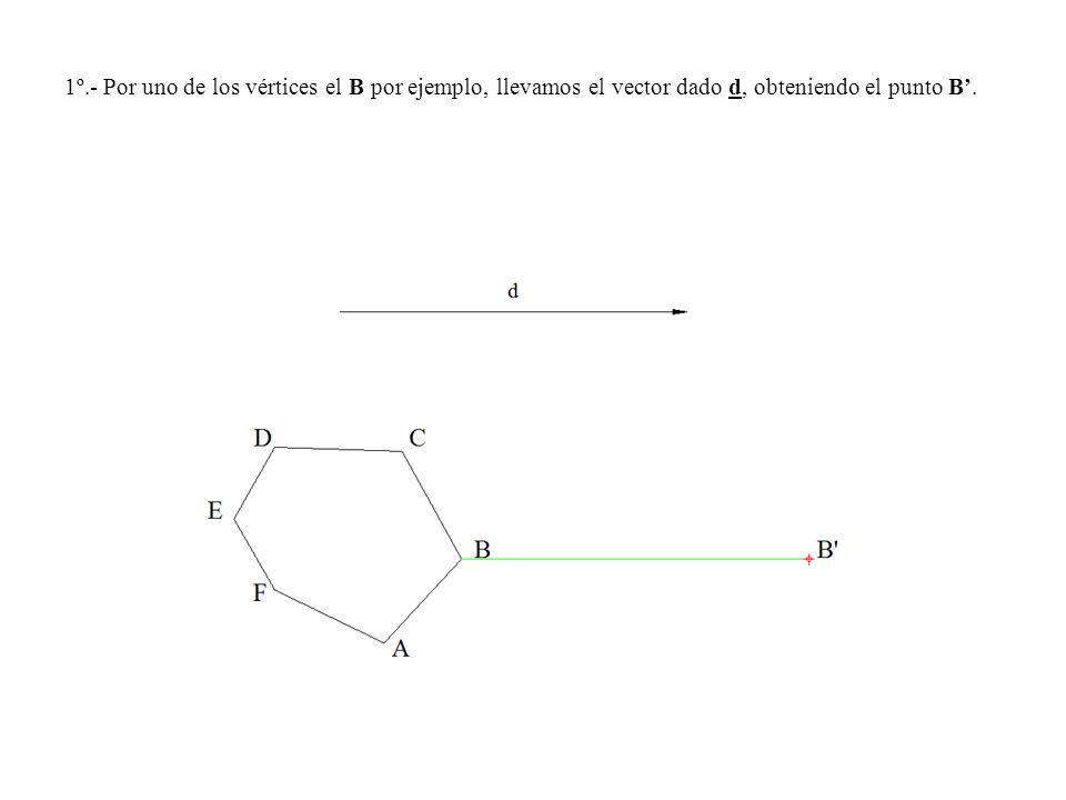 1º.- Por uno de los vértices el B por ejemplo, llevamos el vector dado d, obteniendo el punto B'.