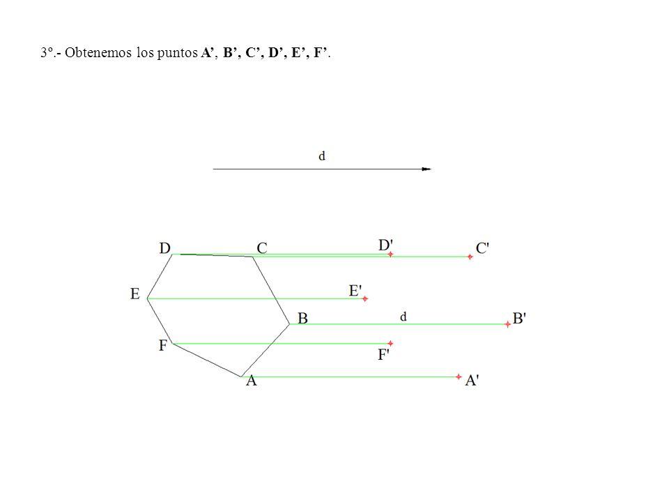 3º.- Obtenemos los puntos A', B', C', D', E', F'.
