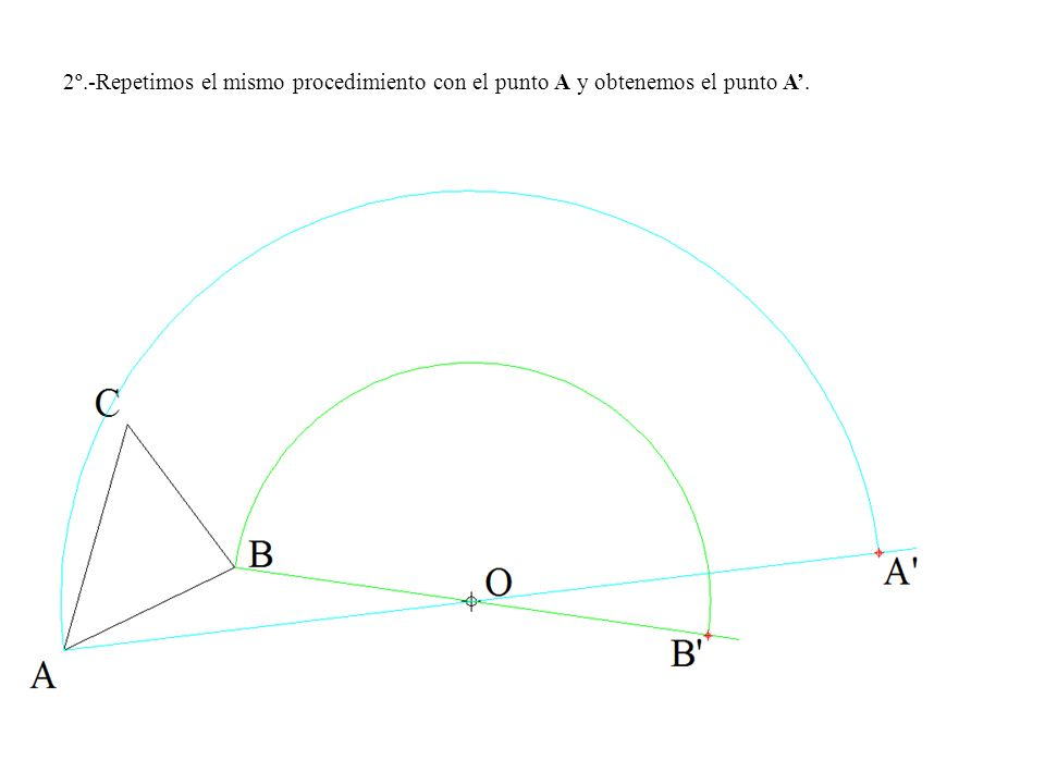 2º.-Repetimos el mismo procedimiento con el punto A y obtenemos el punto A'.