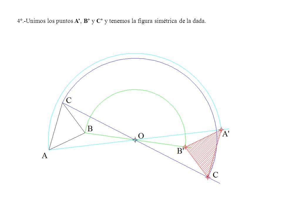 4º.-Unimos los puntos A', B' y C' y tenemos la figura simétrica de la dada.