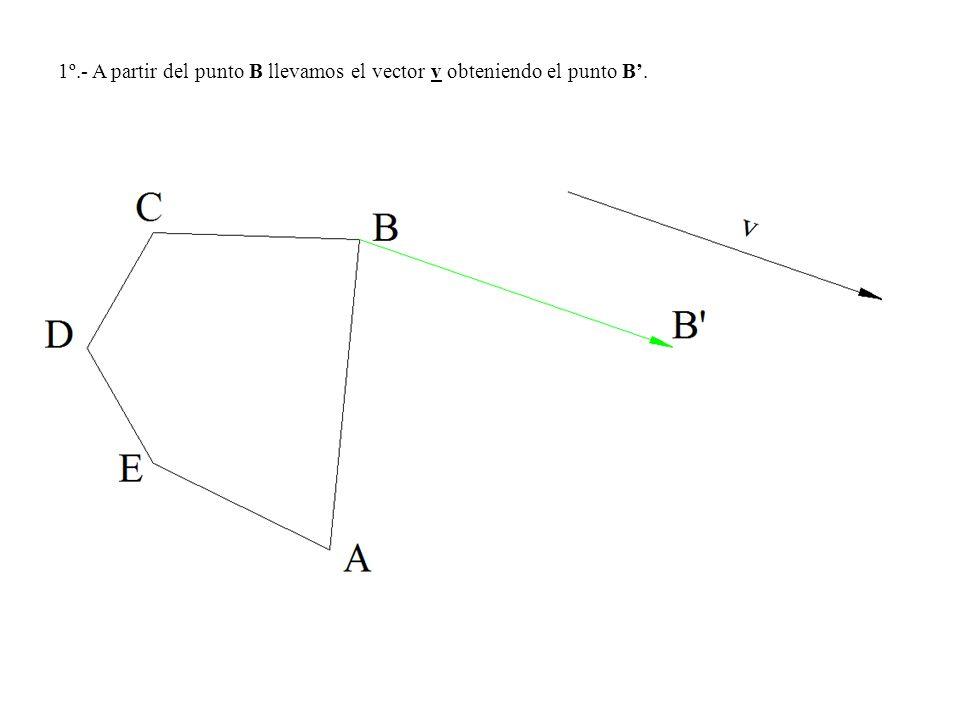 1º.- A partir del punto B llevamos el vector v obteniendo el punto B'.