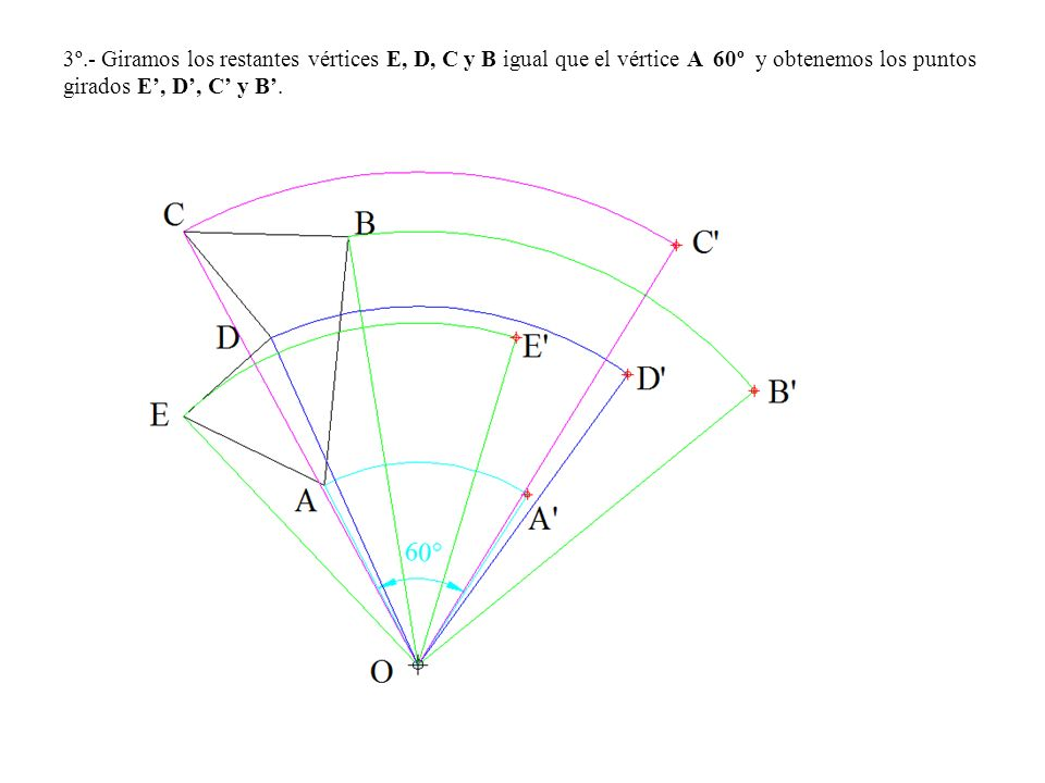 3º.- Giramos los restantes vértices E, D, C y B igual que el vértice A 60º y obtenemos los puntos girados E', D', C' y B'.