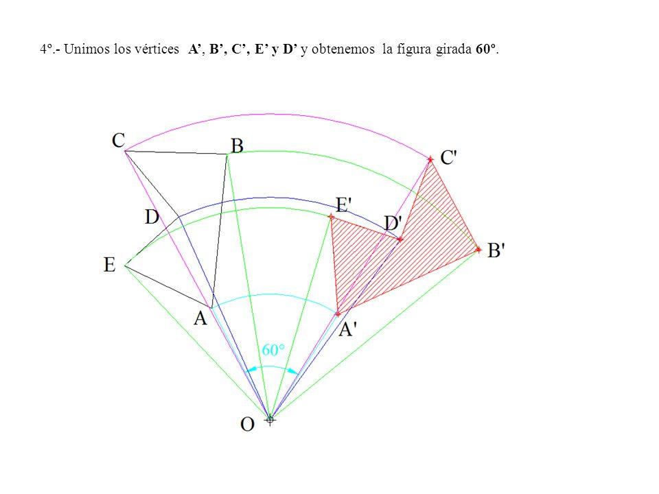 4º.- Unimos los vértices A', B', C', E' y D' y obtenemos la figura girada 60º.