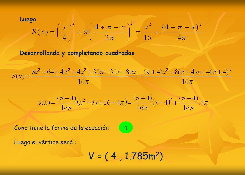 V = ( 4 , 1.785m2) Luego Desarrollando y completando cuadrados 1