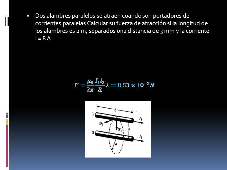 Dos alambres paralelos se atraen cuando son portadores de corrientes paralelas Calcular su fuerza de atracción si la longitud de los alambres es 2 m, separados una distancia de 3 mm y la corriente I = 8 A