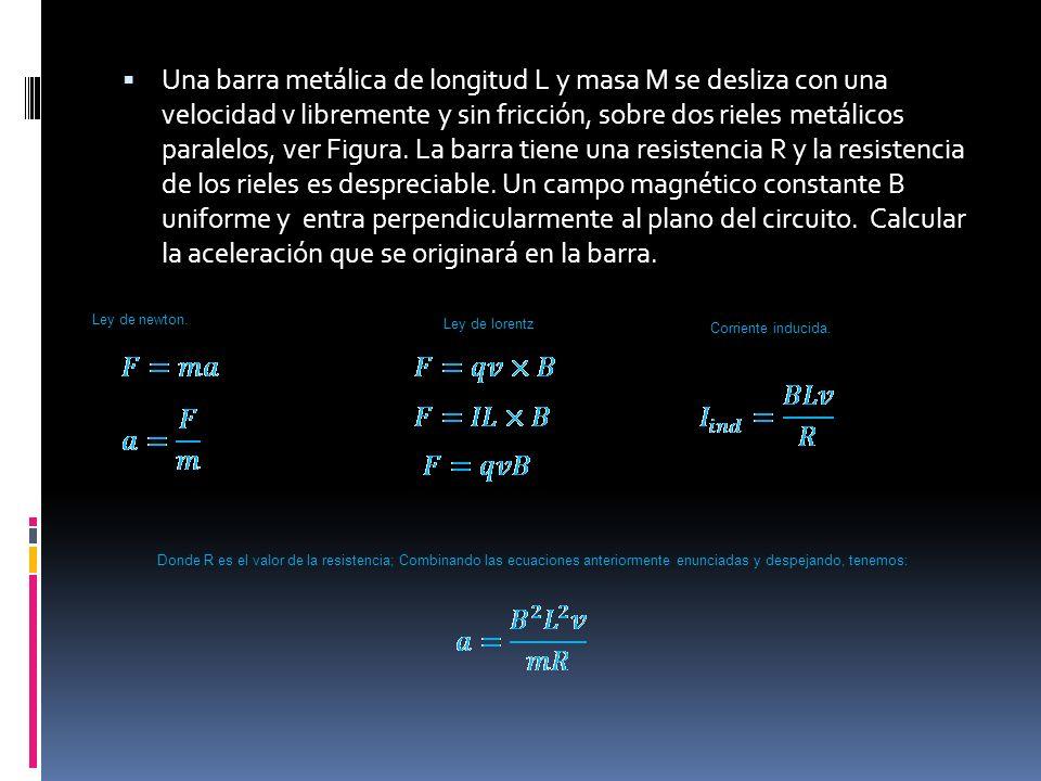 Una barra metálica de longitud L y masa M se desliza con una velocidad v libremente y sin fricción, sobre dos rieles metálicos paralelos, ver Figura. La barra tiene una resistencia R y la resistencia de los rieles es despreciable. Un campo magnético constante B uniforme y entra perpendicularmente al plano del circuito. Calcular la aceleración que se originará en la barra.