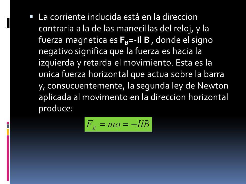 La corriente inducida está en la direccion contraria a la de las manecillas del reloj, y la fuerza magnetica es FB=-Il B , donde el signo negativo significa que la fuerza es hacia la izquierda y retarda el movimiento.