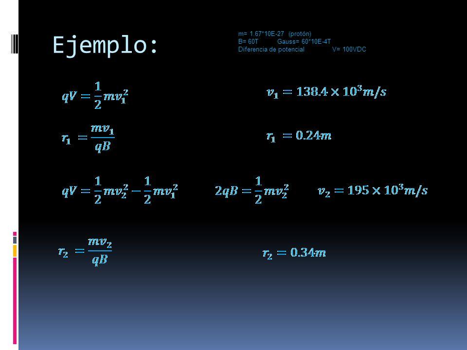 Ejemplo: m= 1.67*10E-27 (protón) B= 60T Gauss= 60*10E-4T