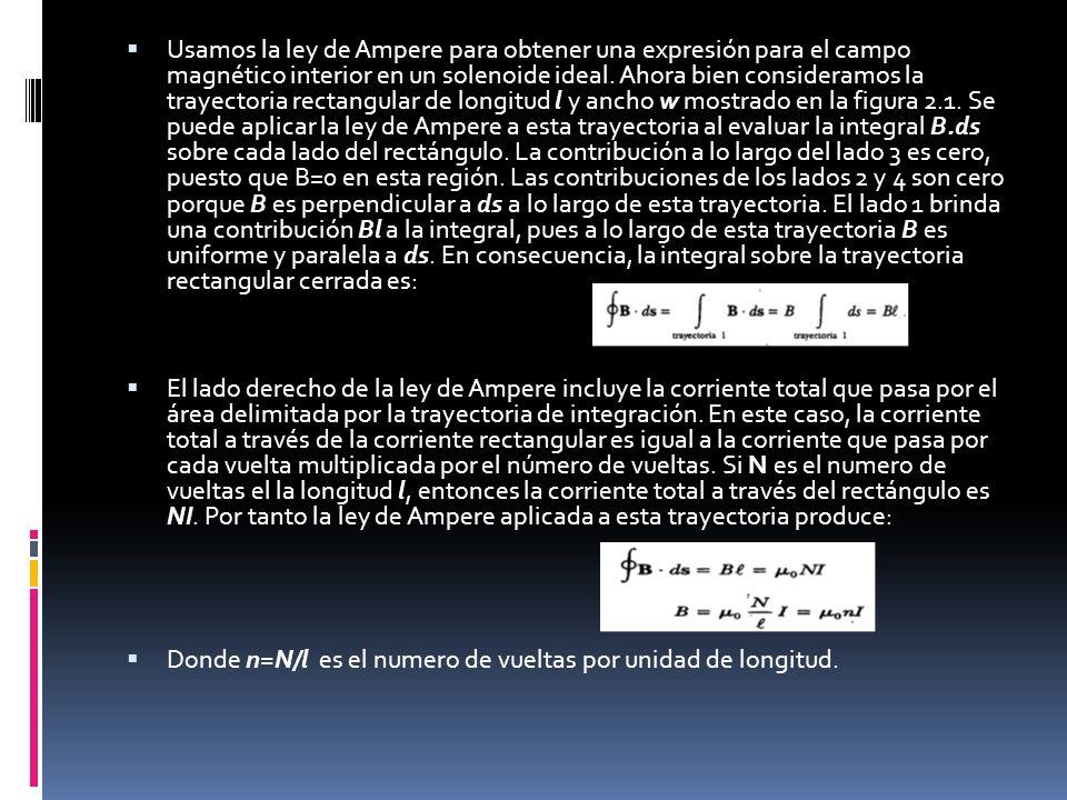 Usamos la ley de Ampere para obtener una expresión para el campo magnético interior en un solenoide ideal. Ahora bien consideramos la trayectoria rectangular de longitud l y ancho w mostrado en la figura 2.1. Se puede aplicar la ley de Ampere a esta trayectoria al evaluar la integral B.ds sobre cada lado del rectángulo. La contribución a lo largo del lado 3 es cero, puesto que B=0 en esta región. Las contribuciones de los lados 2 y 4 son cero porque B es perpendicular a ds a lo largo de esta trayectoria. El lado 1 brinda una contribución Bl a la integral, pues a lo largo de esta trayectoria B es uniforme y paralela a ds. En consecuencia, la integral sobre la trayectoria rectangular cerrada es: