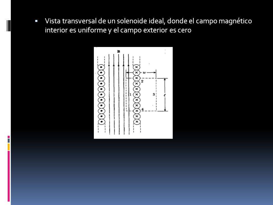 Vista transversal de un solenoide ideal, donde el campo magnético interior es uniforme y el campo exterior es cero