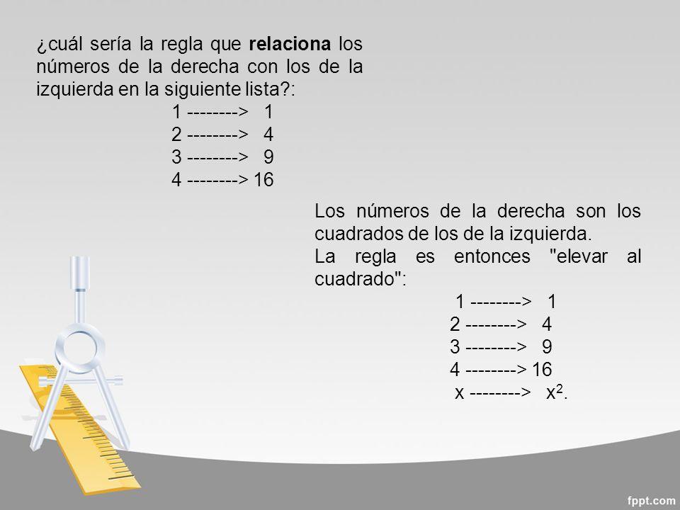¿cuál sería la regla que relaciona los números de la derecha con los de la izquierda en la siguiente lista :