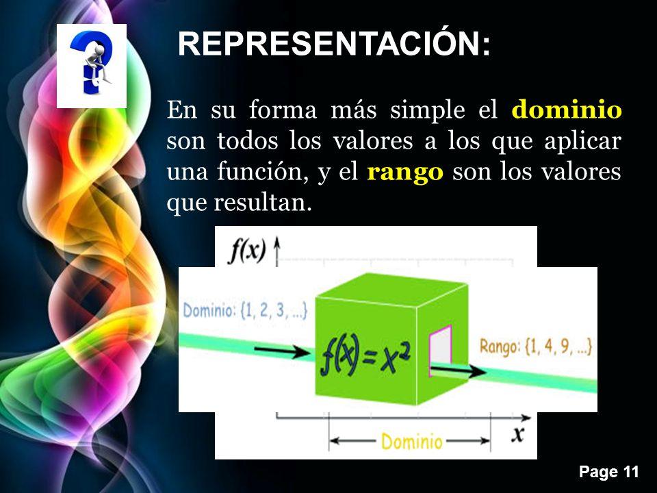 REPRESENTACIÓN: En su forma más simple el dominio son todos los valores a los que aplicar una función, y el rango son los valores que resultan.