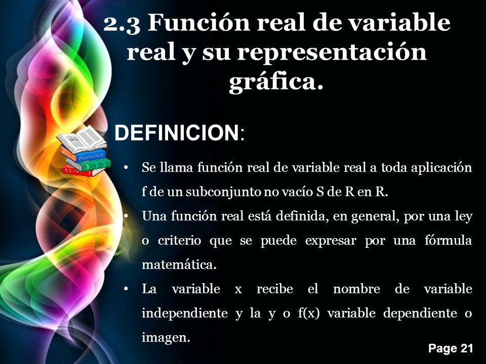 2.3 Función real de variable real y su representación gráfica.