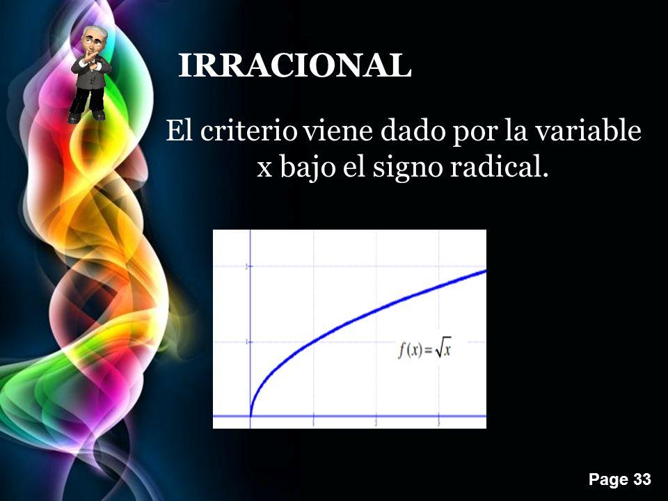 El criterio viene dado por la variable x bajo el signo radical.