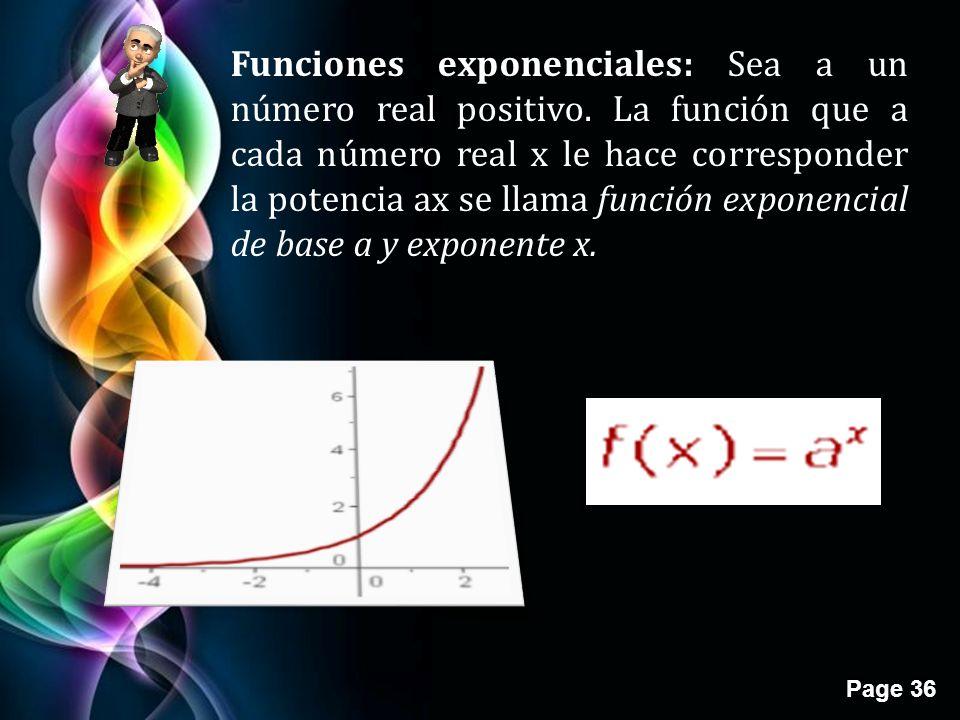 Funciones exponenciales: Sea a un número real positivo