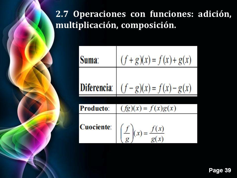2.7 Operaciones con funciones: adición, multiplicación, composición.