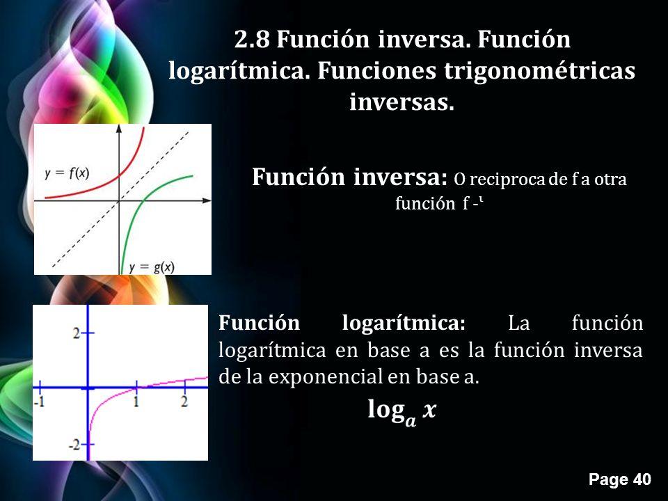 Función inversa: O reciproca de f a otra función f -ᶥ