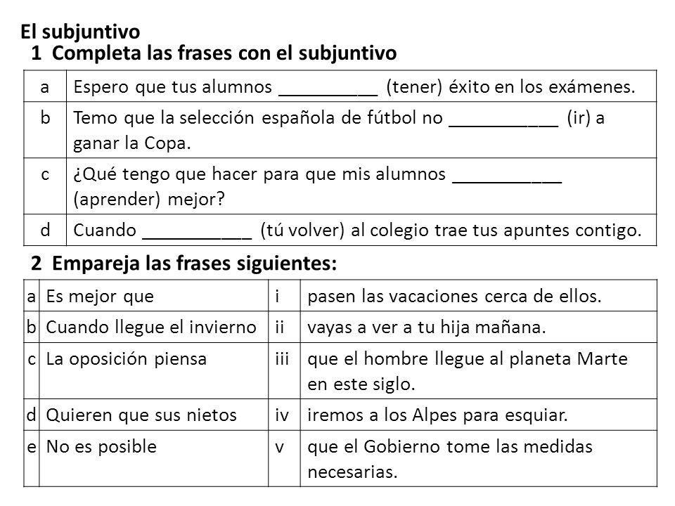 1 Completa las frases con el subjuntivo