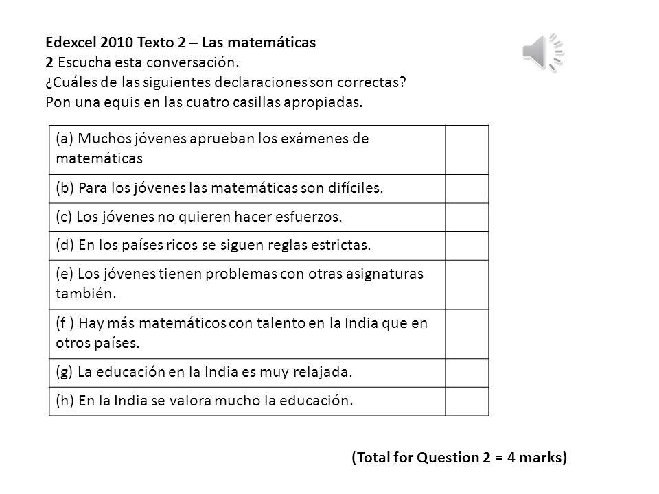 Edexcel 2010 Texto 2 – Las matemáticas