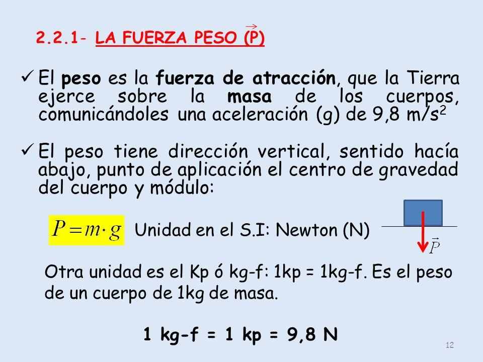 2.2.1- LA FUERZA PESO (P)