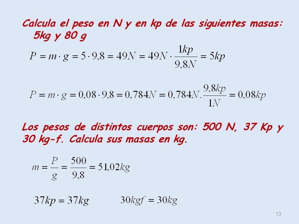 Calcula el peso en N y en kp de las siguientes masas: 5kg y 80 g