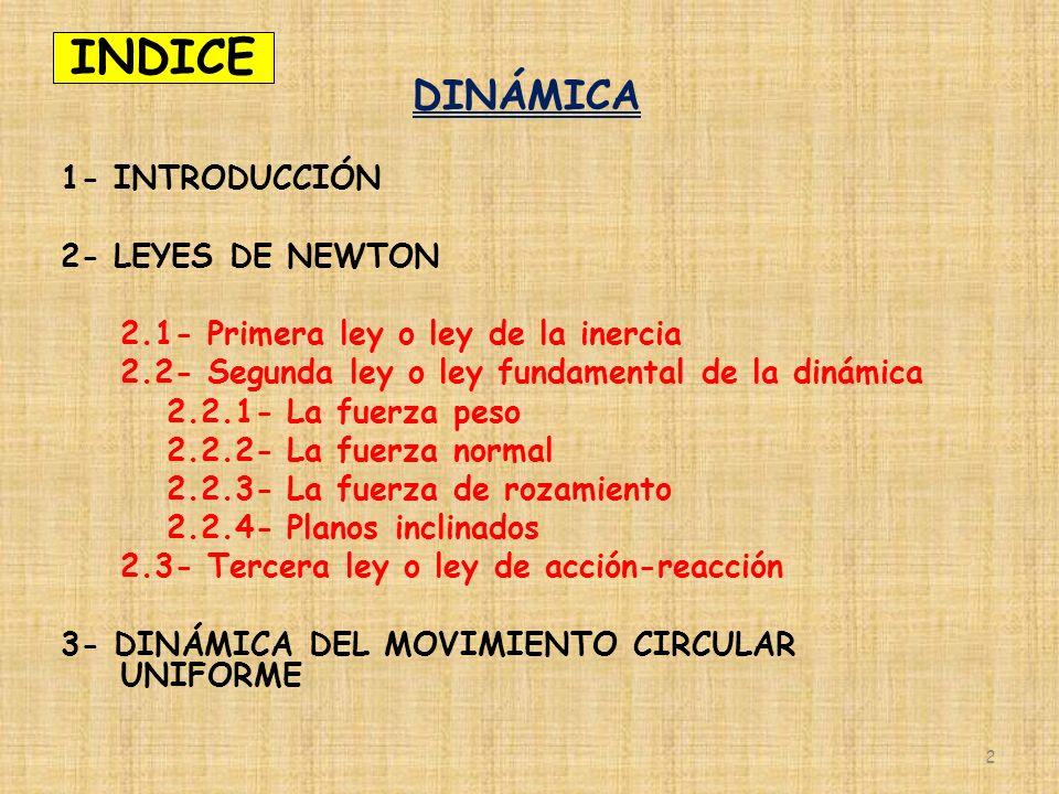 INDICE DINÁMICA 1- INTRODUCCIÓN 2- LEYES DE NEWTON