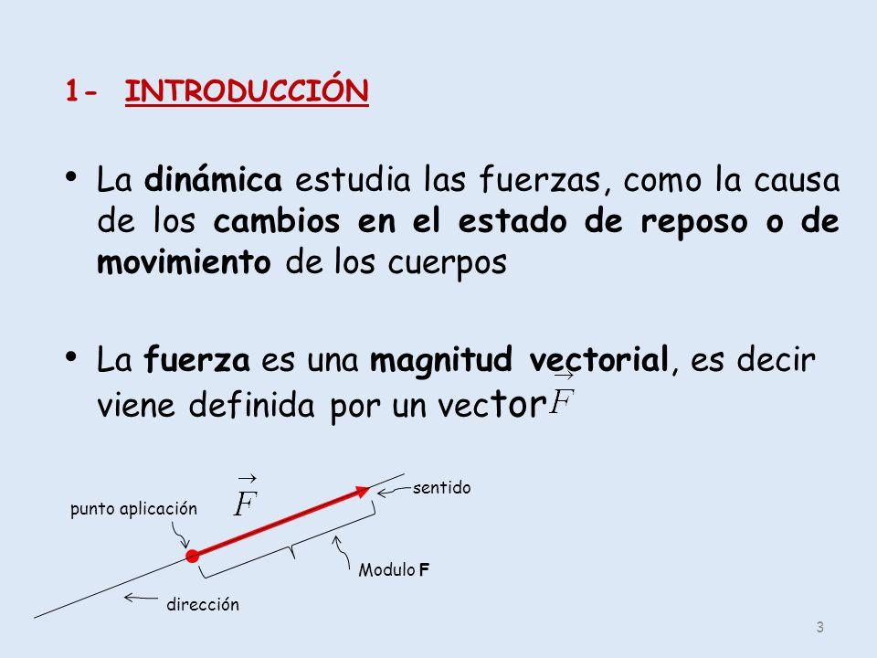1- INTRODUCCIÓN La dinámica estudia las fuerzas, como la causa de los cambios en el estado de reposo o de movimiento de los cuerpos.