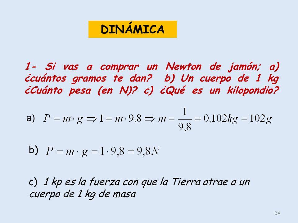 DINÁMICA 1- Si vas a comprar un Newton de jamón; a) ¿cuántos gramos te dan b) Un cuerpo de 1 kg ¿Cuánto pesa (en N) c) ¿Qué es un kilopondio
