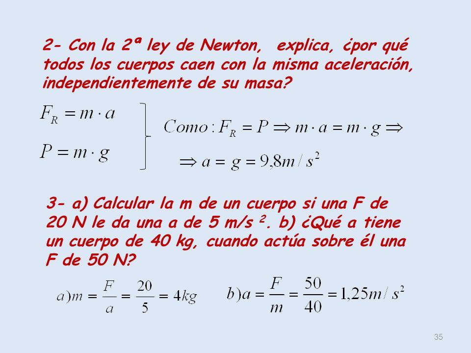 2- Con la 2ª ley de Newton, explica, ¿por qué todos los cuerpos caen con la misma aceleración, independientemente de su masa