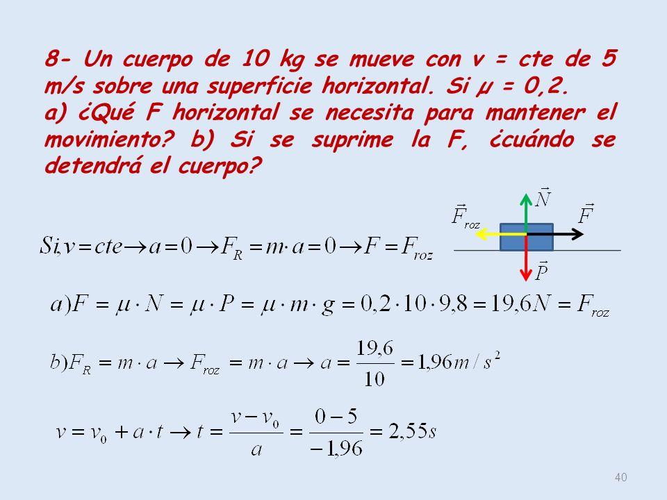 8- Un cuerpo de 10 kg se mueve con v = cte de 5 m/s sobre una superficie horizontal. Si µ = 0,2.