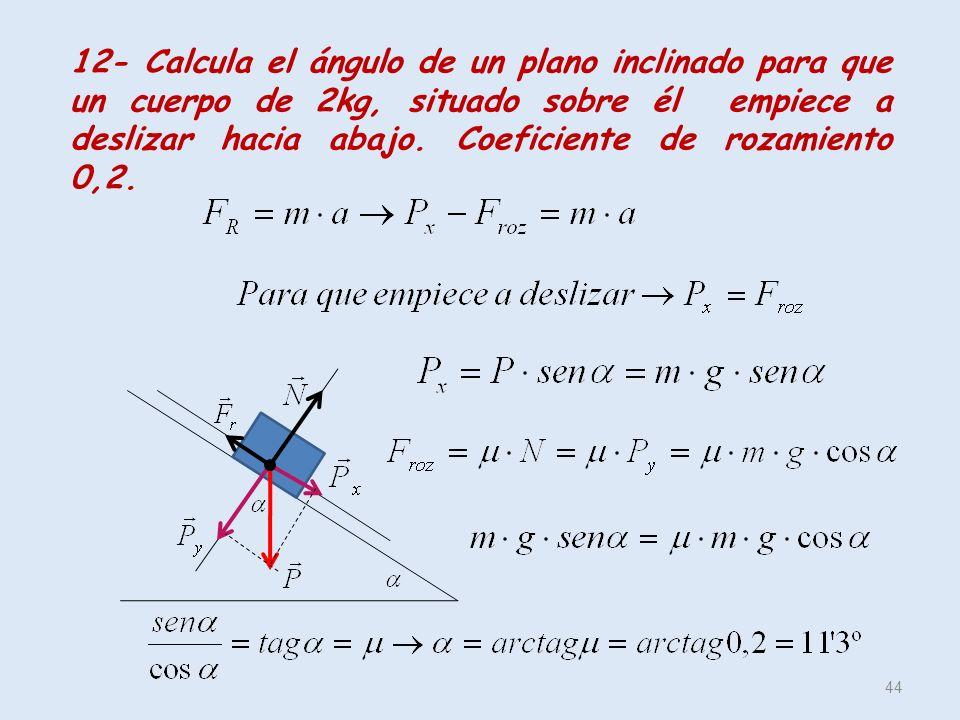 12- Calcula el ángulo de un plano inclinado para que un cuerpo de 2kg, situado sobre él empiece a deslizar hacia abajo.