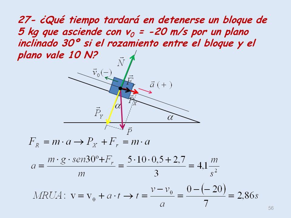 27- ¿Qué tiempo tardará en detenerse un bloque de 5 kg que asciende con v0 = -20 m/s por un plano inclinado 30º si el rozamiento entre el bloque y el plano vale 10 N