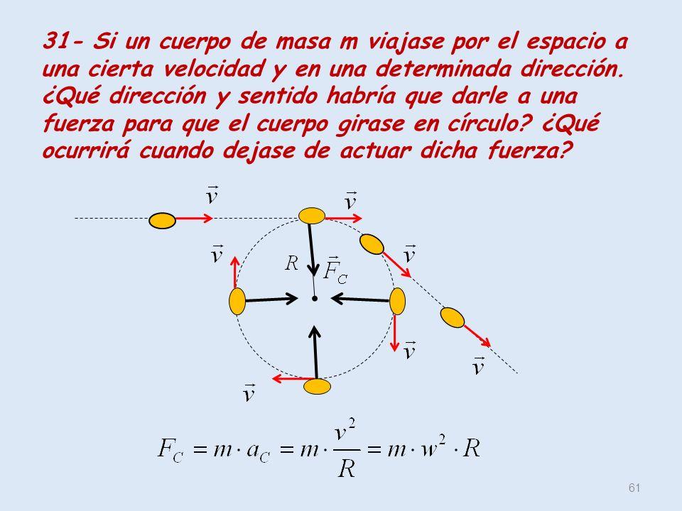 31- Si un cuerpo de masa m viajase por el espacio a una cierta velocidad y en una determinada dirección.