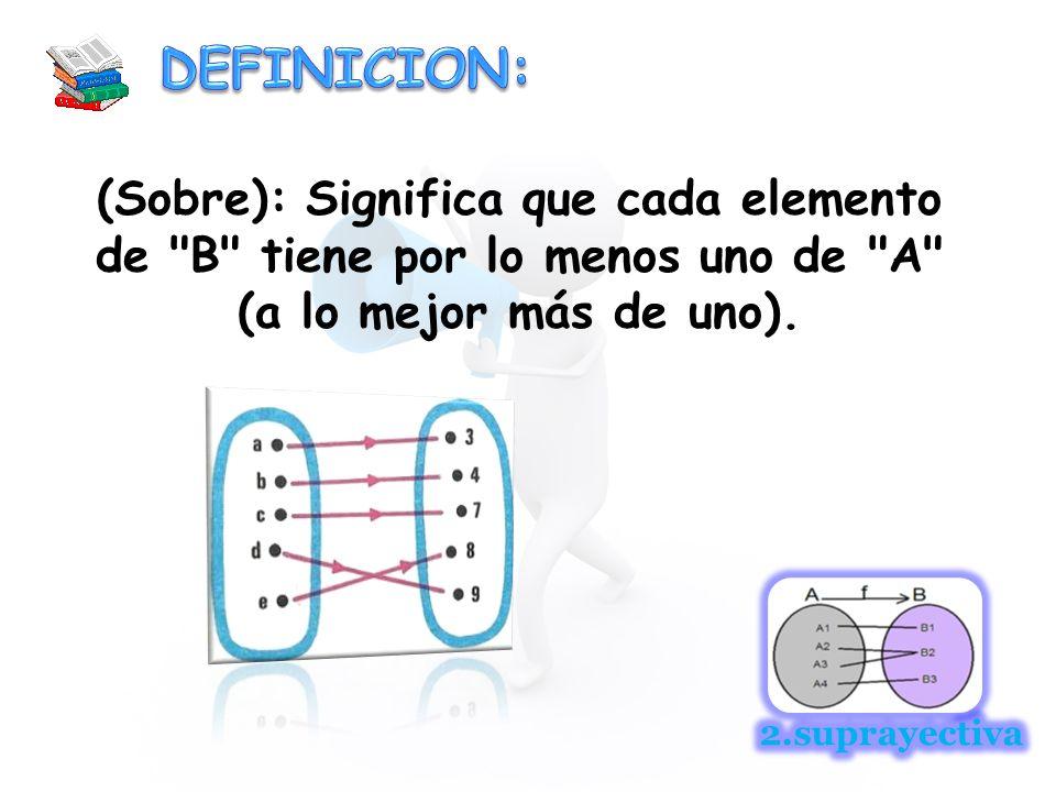 DEFINICION: (Sobre): Significa que cada elemento de B tiene por lo menos uno de A (a lo mejor más de uno).