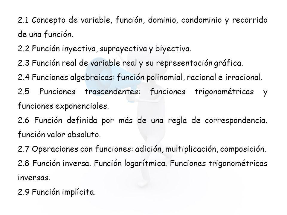 2.1 Concepto de variable, función, dominio, condominio y recorrido de una función.