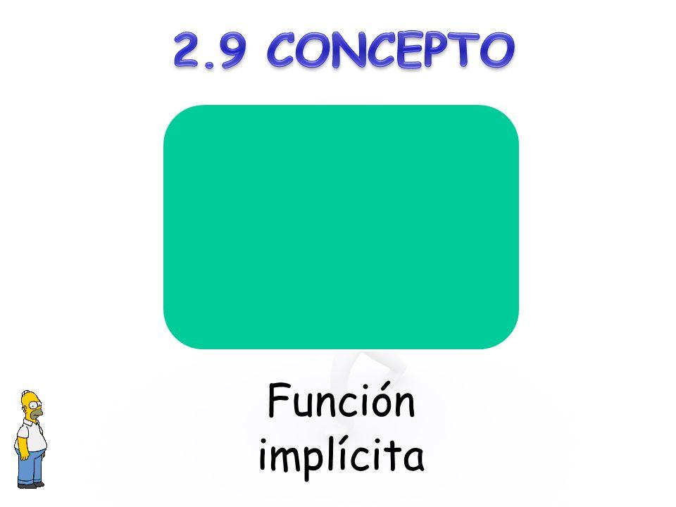 2.9 CONCEPTO Función implícita
