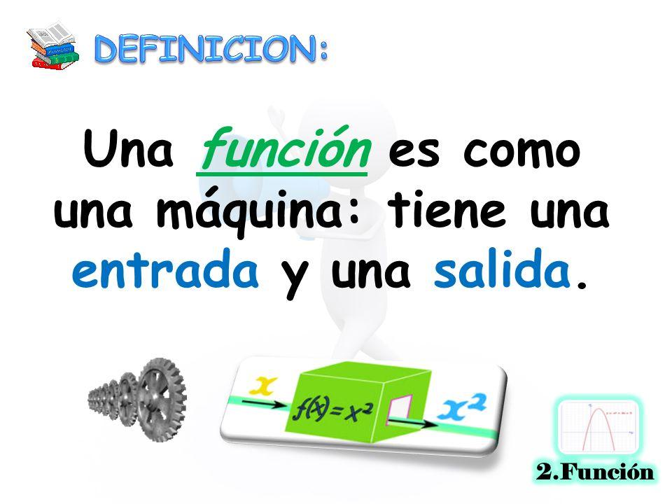Una función es como una máquina: tiene una entrada y una salida.