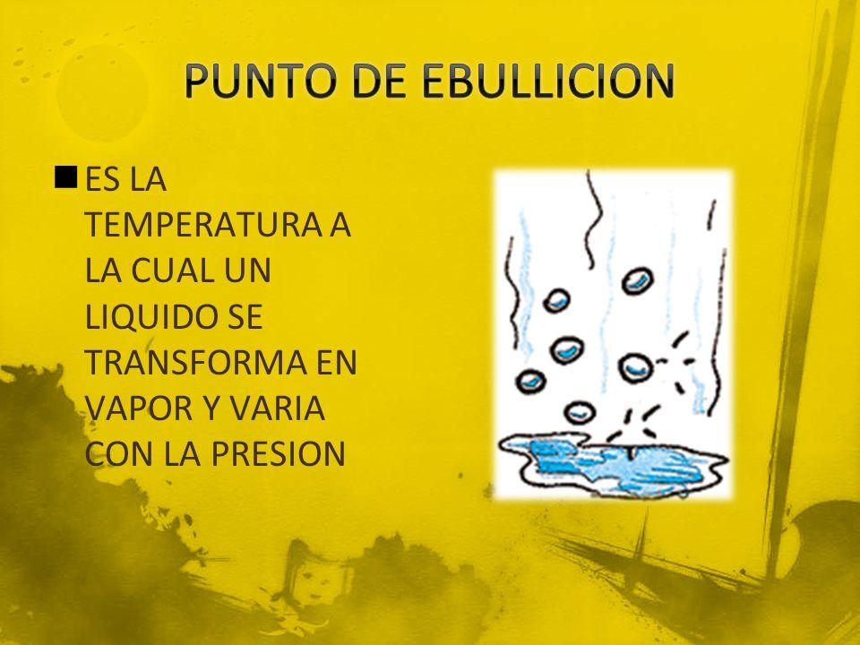 PUNTO DE EBULLICION ES LA TEMPERATURA A LA CUAL UN LIQUIDO SE TRANSFORMA EN VAPOR Y VARIA CON LA PRESION.