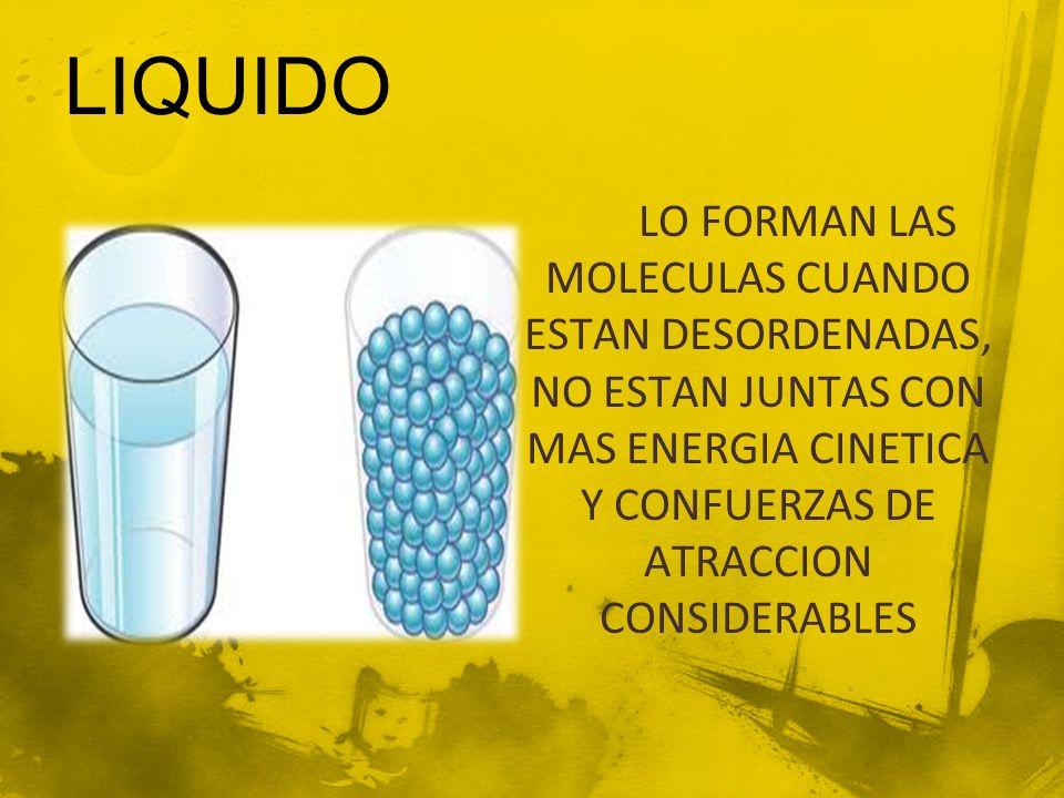 LIQUIDO LO FORMAN LAS MOLECULAS CUANDO ESTAN DESORDENADAS, NO ESTAN JUNTAS CON MAS ENERGIA CINETICA Y CONFUERZAS DE ATRACCION CONSIDERABLES.