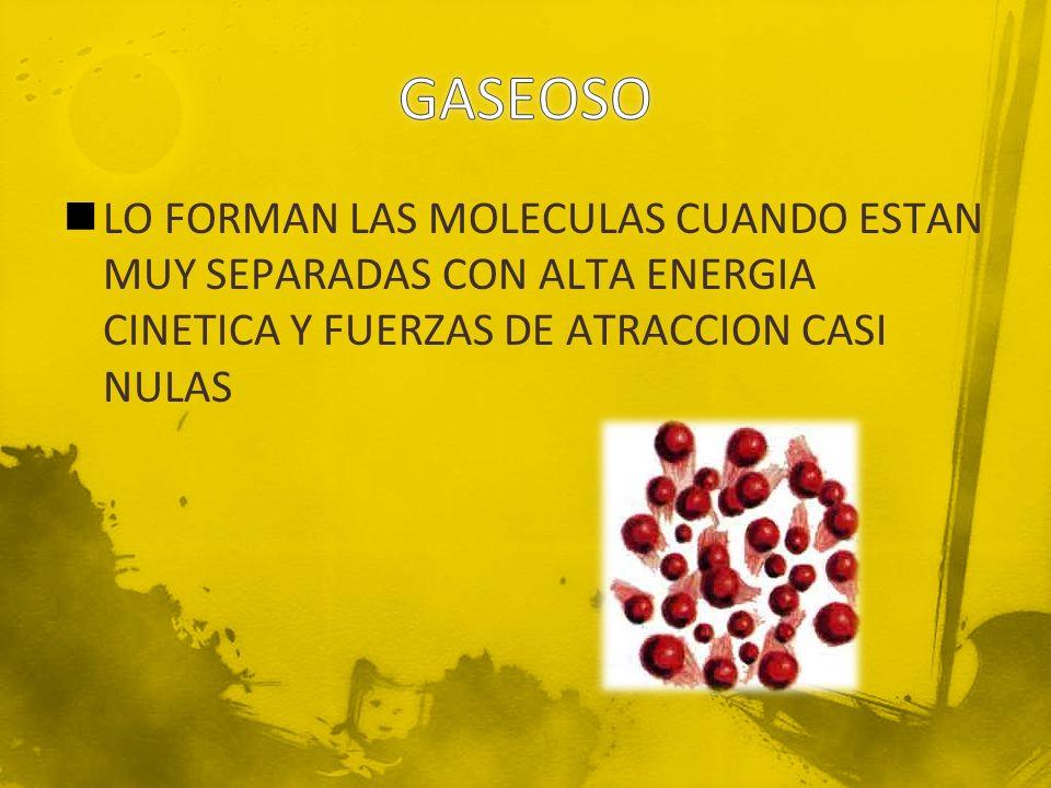 GASEOSO LO FORMAN LAS MOLECULAS CUANDO ESTAN MUY SEPARADAS CON ALTA ENERGIA CINETICA Y FUERZAS DE ATRACCION CASI NULAS.