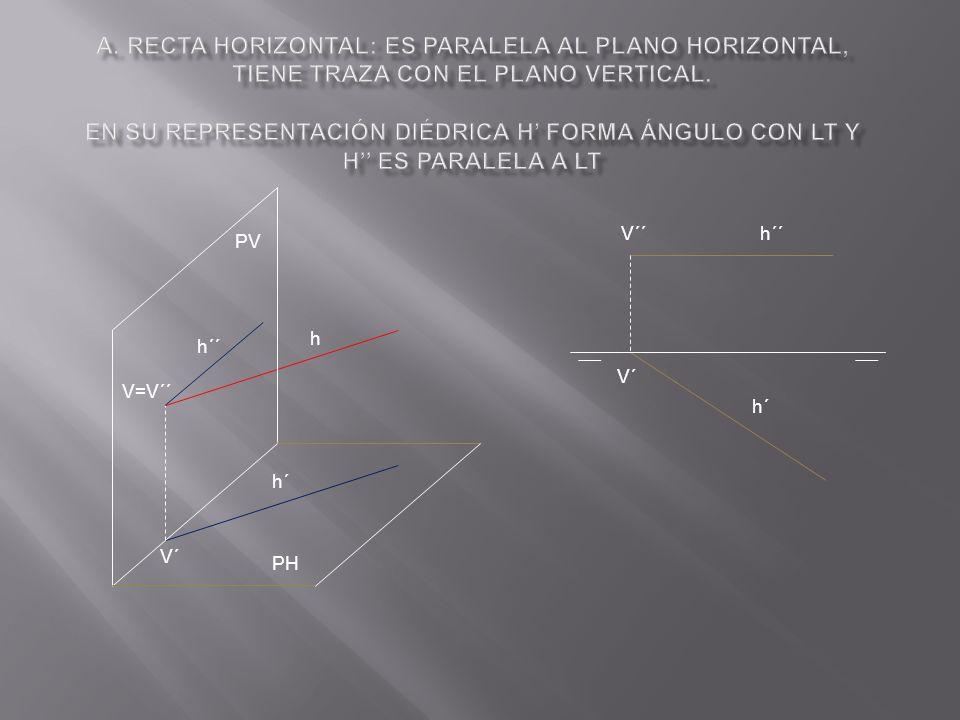 a. Recta horizontal: es paralela al plano horizontal, tiene traza con el plano vertical. En su representación diédrica h' forma ángulo con LT y h'' es paralela a LT