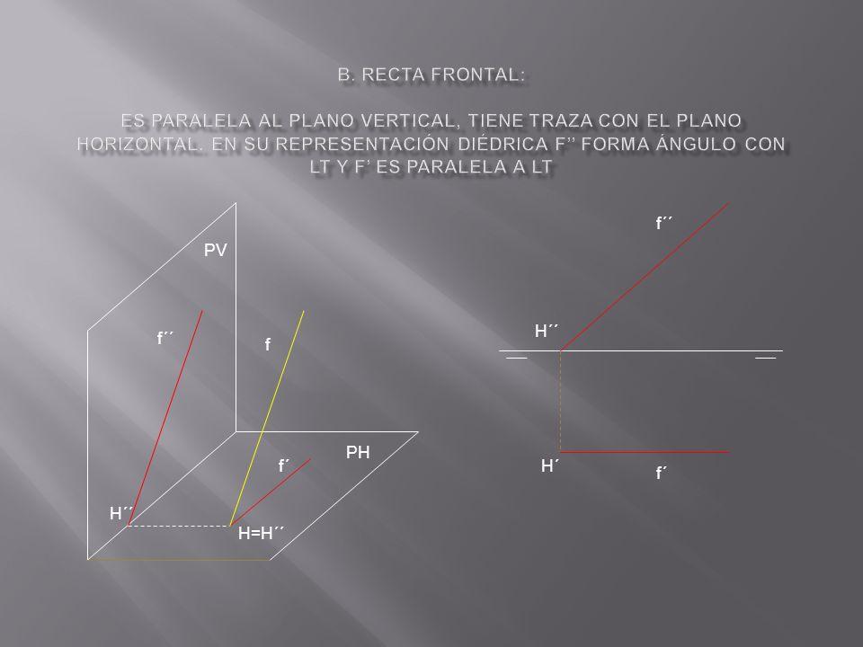 b. Recta frontal: Es paralela al plano vertical, tiene traza con el plano horizontal. En su representación diédrica f'' forma ángulo con LT y f' es paralela a LT