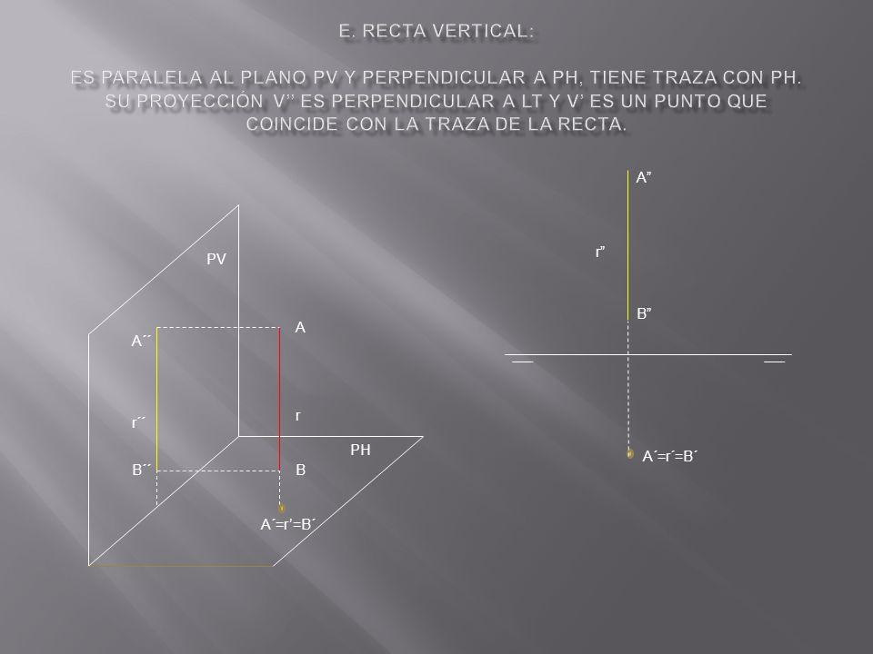 e. Recta vertical: Es paralela al plano PV y perpendicular a PH, tiene traza con PH. Su proyección v'' es perpendicular a LT y v' es un punto que coincide con la traza de la recta.
