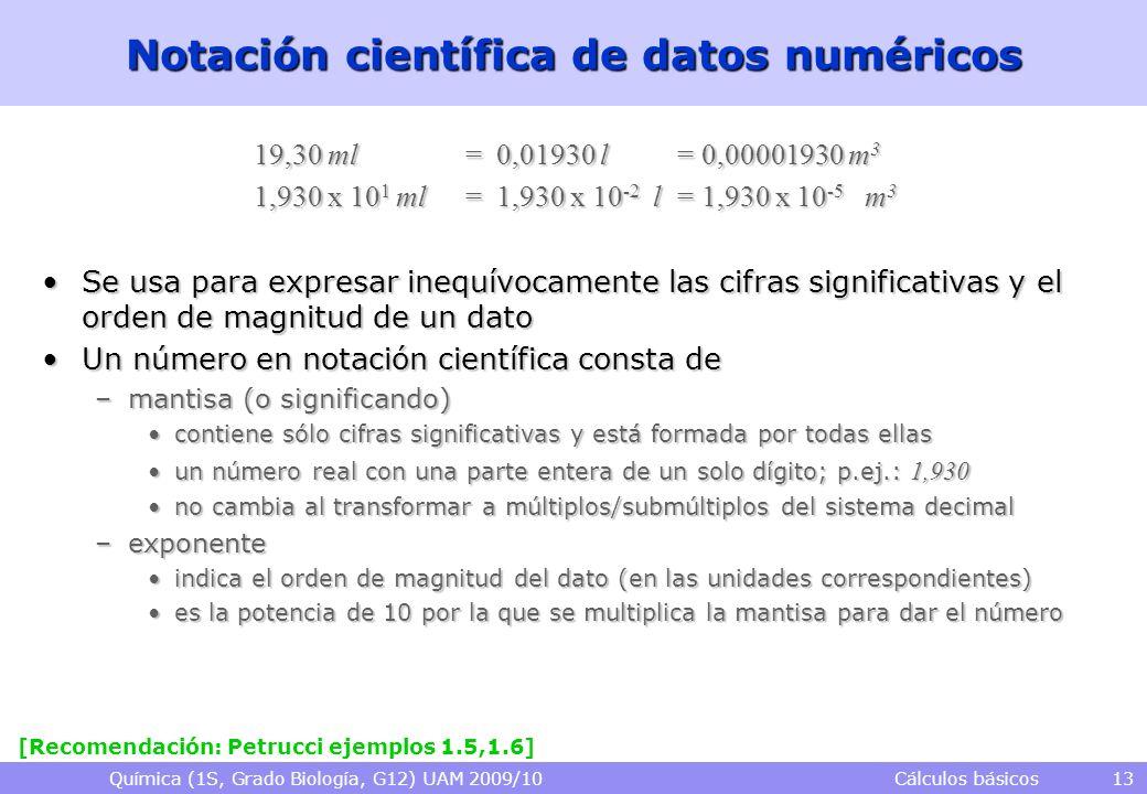 Notación científica de datos numéricos