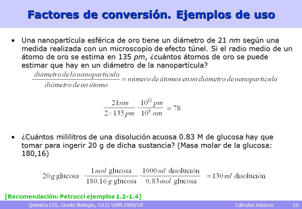 Factores de conversión. Ejemplos de uso