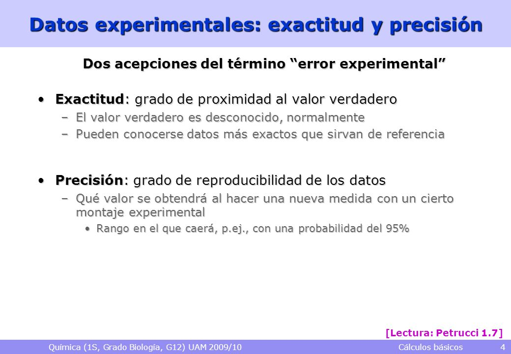 Datos experimentales: exactitud y precisión